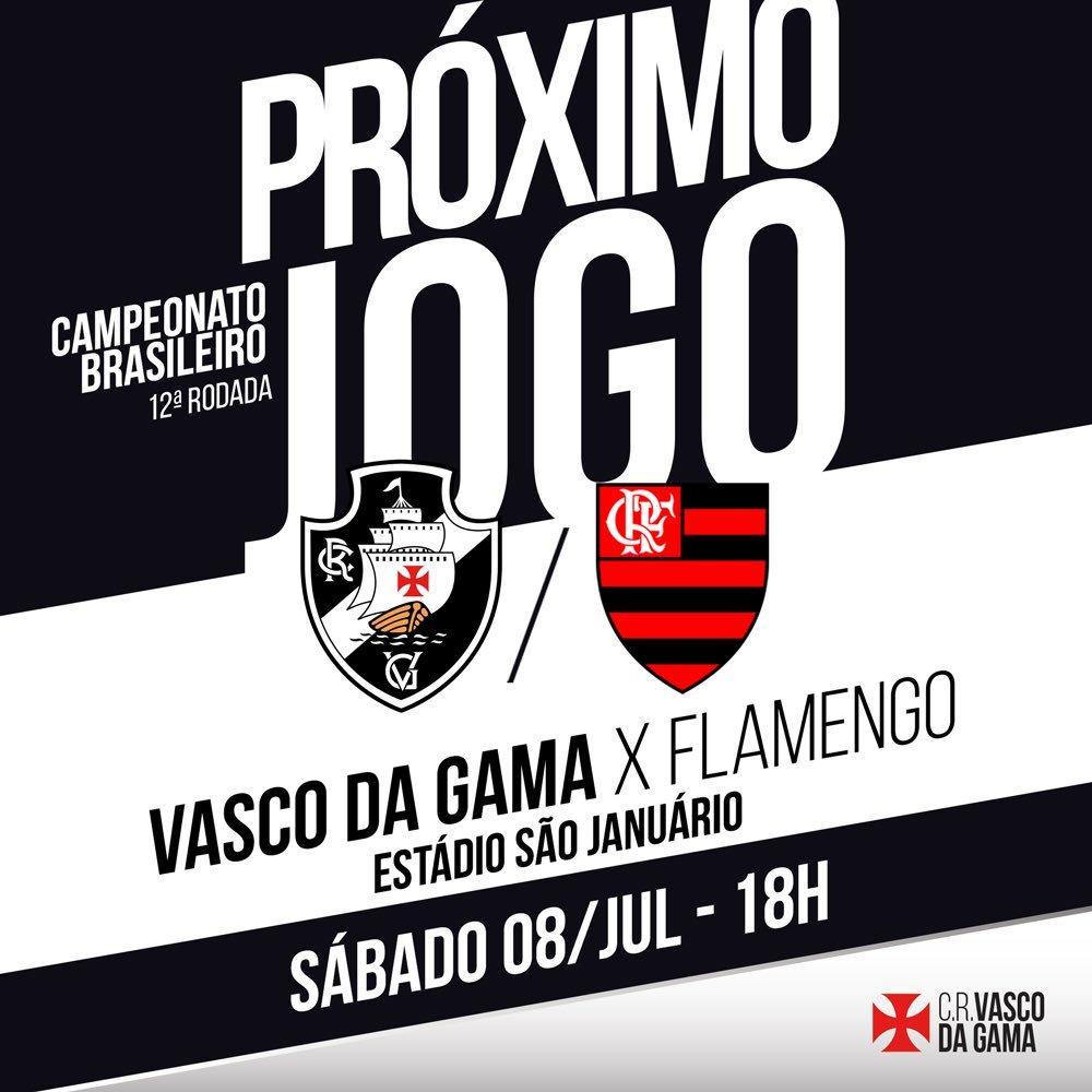 O nosso próximo desafio já tem data marcada: Vasco x Flamengo, no sábado, às 18 horas, em São Januário. #VamosVasco