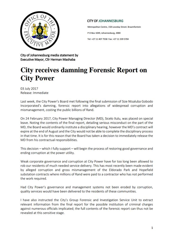 Herman Mashaba On Twitter The City Received A Damning Forensic