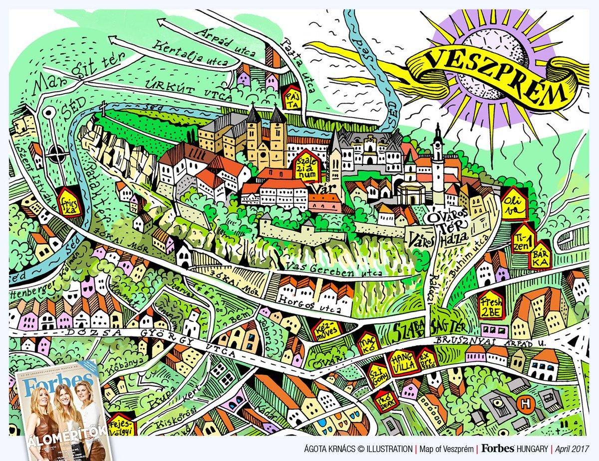 Agota Krnacs On Twitter Veszprem Terkep Map Illustration See