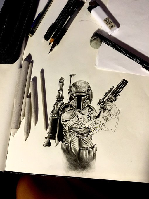 Comin after you like.... 🚀🔫 #Doodle #BobaFett https://t.co/Wg8FJQdooQ