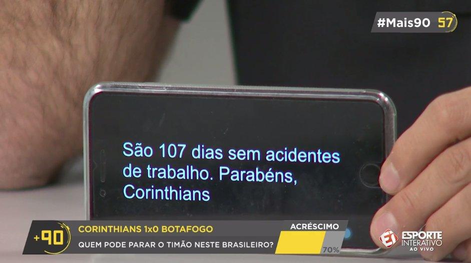 O celular do Mauro Beting deu o recado: Corinthians há 107 dias sem 'acidentes' kkkk vem pro #Mais90