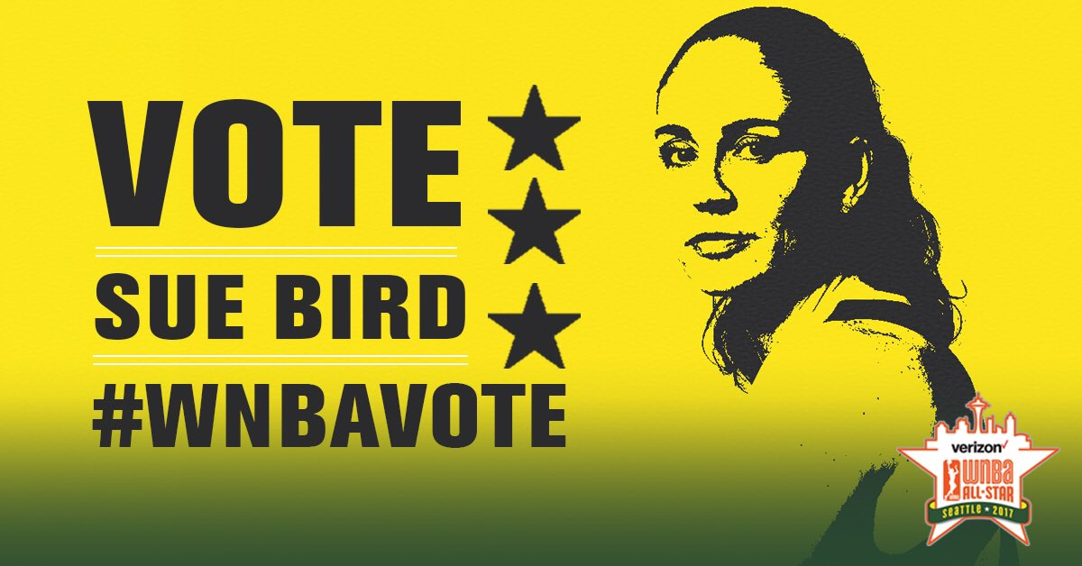 Replying to @seattlestorm: Only a couple days left to vote @S10Bird into Verizon WNBA All-Star 2017!  RT to vote! #WNBABallot