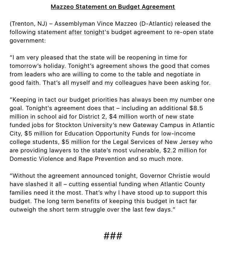 Assemblyman Vince Mazzeo On Twitter My Statement On Tonights
