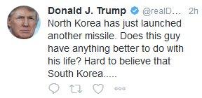 #北朝鮮 のミサイル発射を受けて #トランプ大統領 がツイッター投稿。#金正恩 委員長を念頭に「アイツは自分の人生でもうちょっとましなことが何かないのか」。意訳をすると「ほかにやることがないのか?」になります。  https://t.co/KUuD8ruiQL