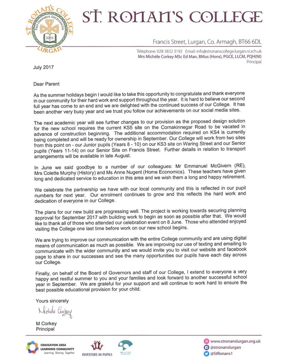 St Ronans College on Twitter Letter to Parents