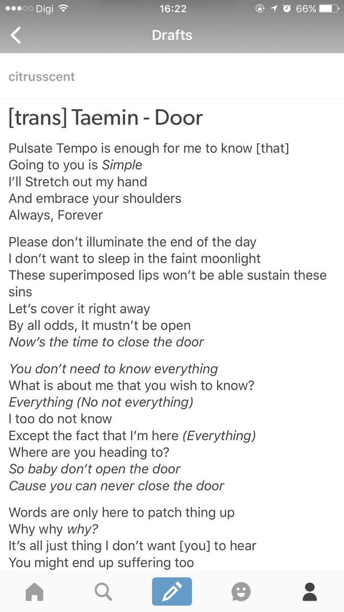 ???_??? on Twitter  [TRANS] Taemin - Door Lyrics English Translation (cr_citrusscent) //t.co/8Ljyerb61E   sc 1 st  Twitter & ???_??? on Twitter: