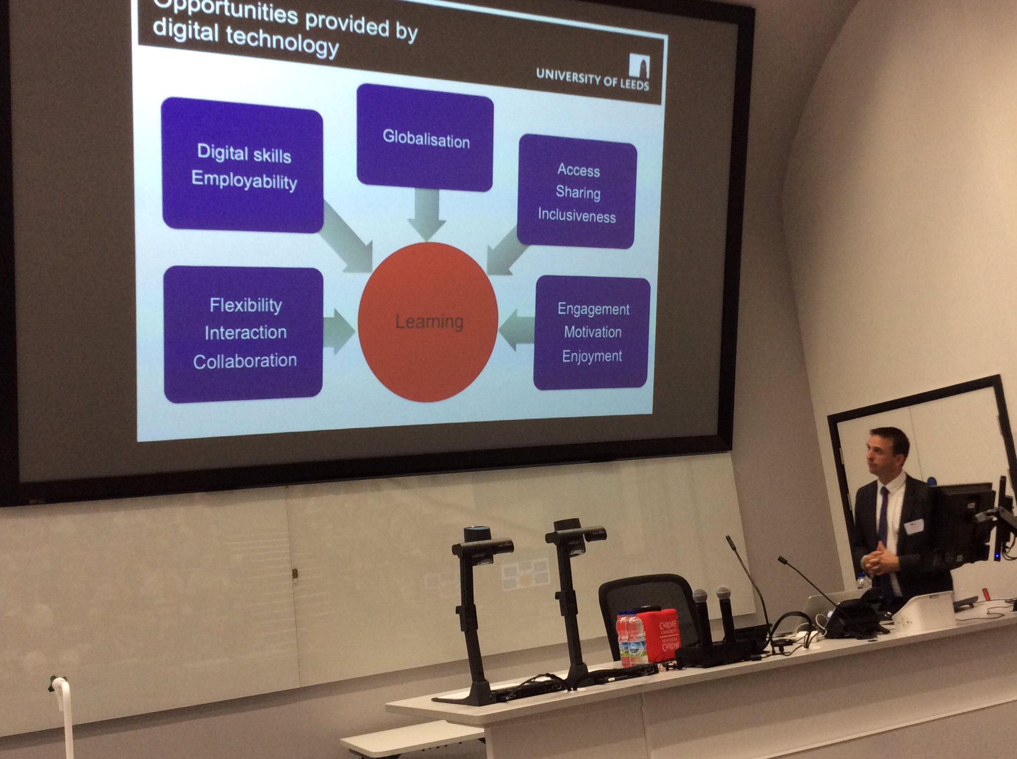 Professor Neil Morris emphasising that learning has to be at the heart of digital technology #CUCEI17 @cardiffuni l & t conference https://t.co/HzUbkEQCnh