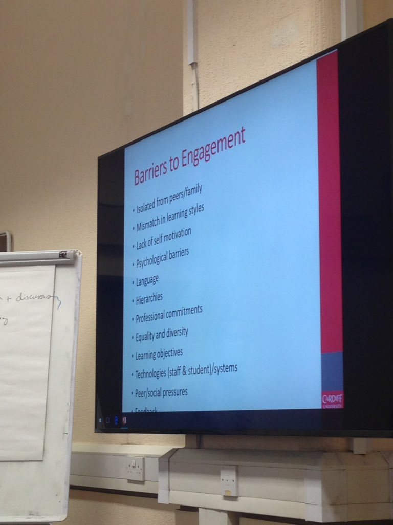 The barriers to Engagement, currently being discussed in the 'Active Student Engagement - at a distance' Workshop #CUCEI17 https://t.co/n8vGtPij3c