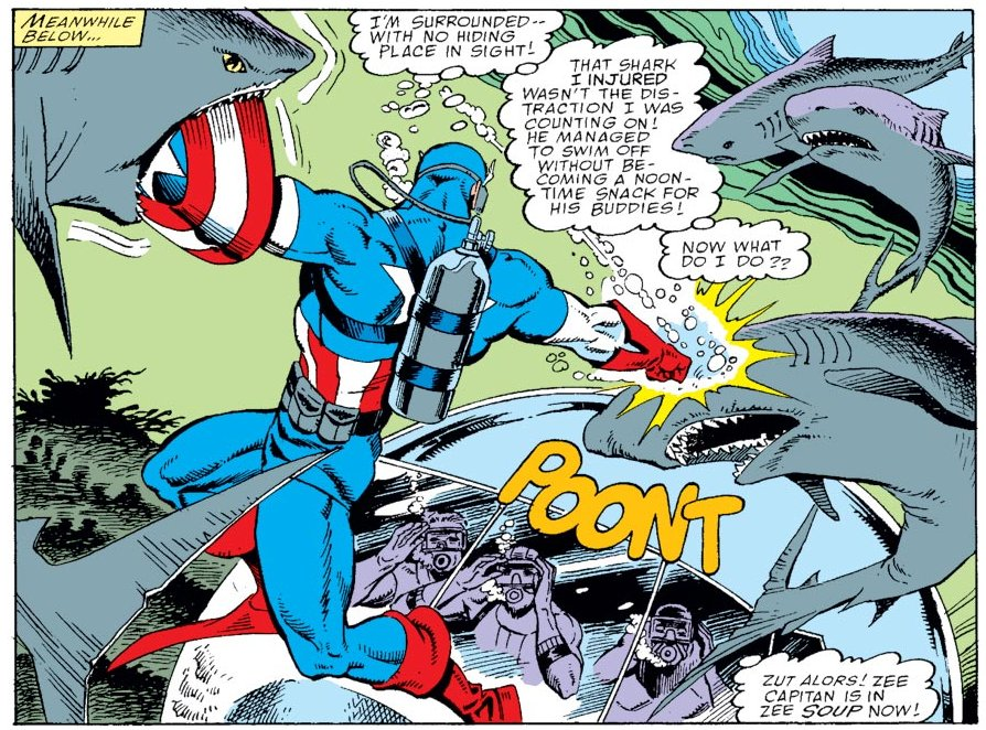 It's #July4 -- so here's Captain America fighting some sharks.  #HappyFourth, everyone! https://t.co/MaMNkmnzyq