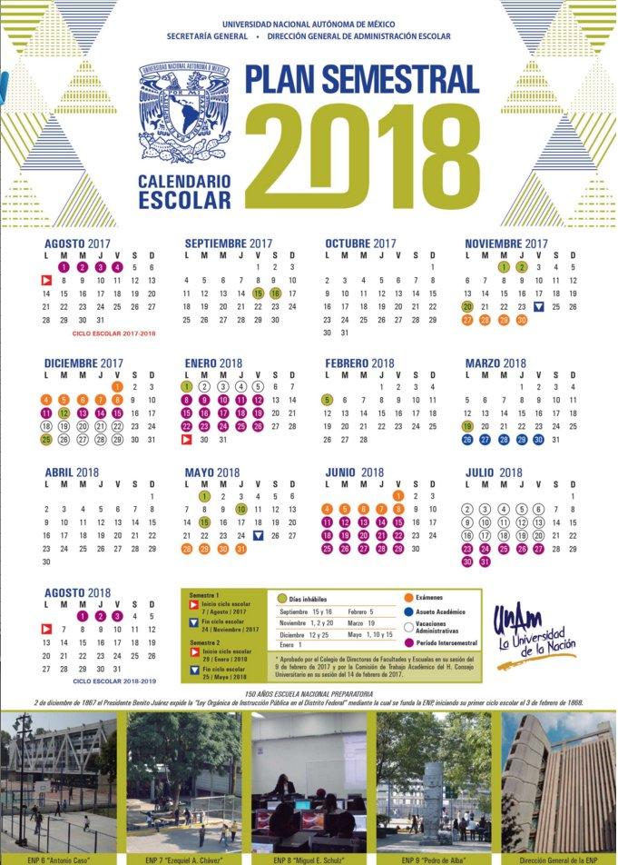 Calendario 2019 Unam