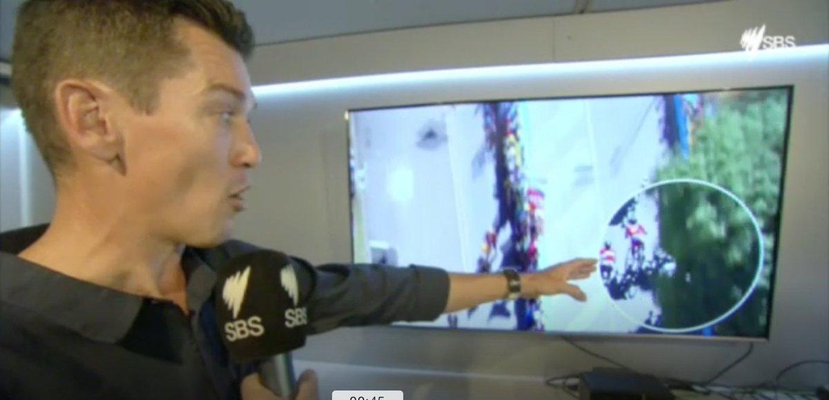 Video: @mcewenrobbie analysis of the Sagan-Cavendish collision, Stage 4 sprint finish: https://t.co/iqb1AuSo8q https://t.co/YPMhRBC7FD