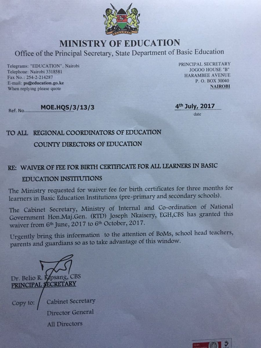 Mtoto News On Twitter Government Of Kenya Has Waivered Birth