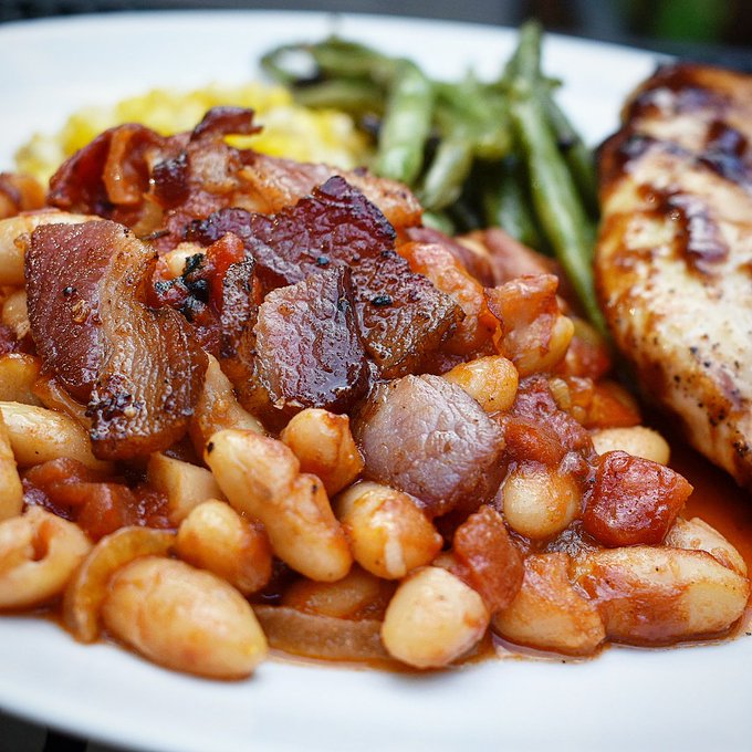 Baked Beans with Caramelized Onion and Bacon • Chef Jen