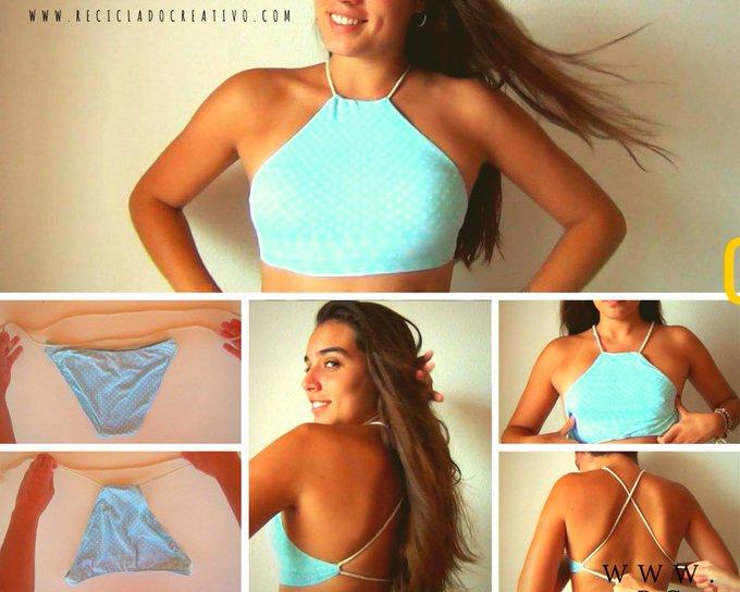 Crea un top de traje de baño a partir de una panty con este DIY