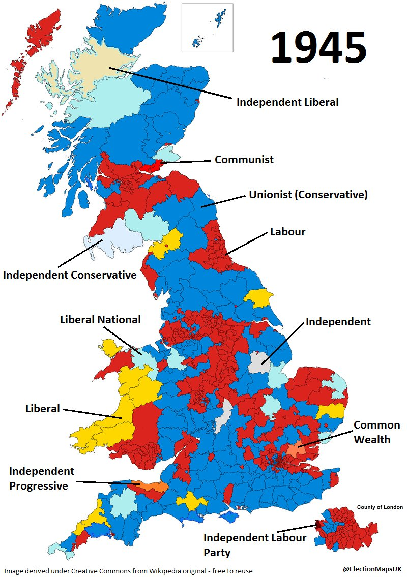 Map Of Uk 2017.Election Maps Uk On Twitter 72 Yrs Ago Today Lab Won A Landslide