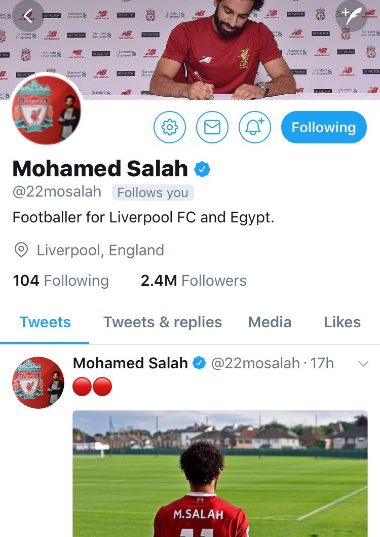 Liking your new look on Twitter, @22mosalah. 🔴 https://t.co/LQv66eK6D2