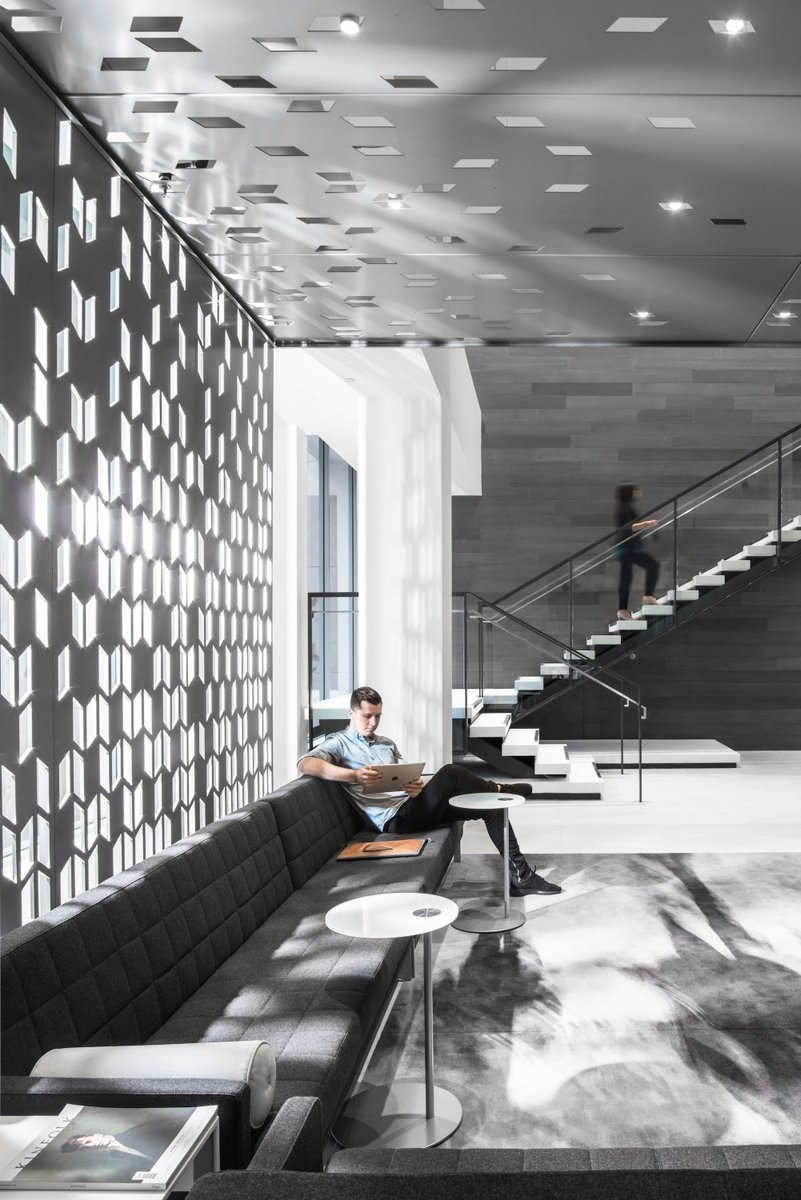 A focal point &amp; design complement, Moment floors the KOIN Tower lobby in #Portland. Design by Mackenzie. Photography by Christian Columbres. <br>http://pic.twitter.com/EKVsLTQ1pK