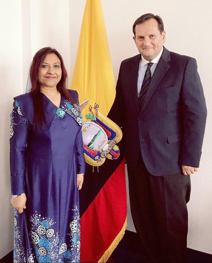 Ambassador Jameela met Ambassador of Ecuadorto discuss bilateral ties and #Maldives multilateral engagements with #Ecuador . <br>http://pic.twitter.com/jBLgStQoea