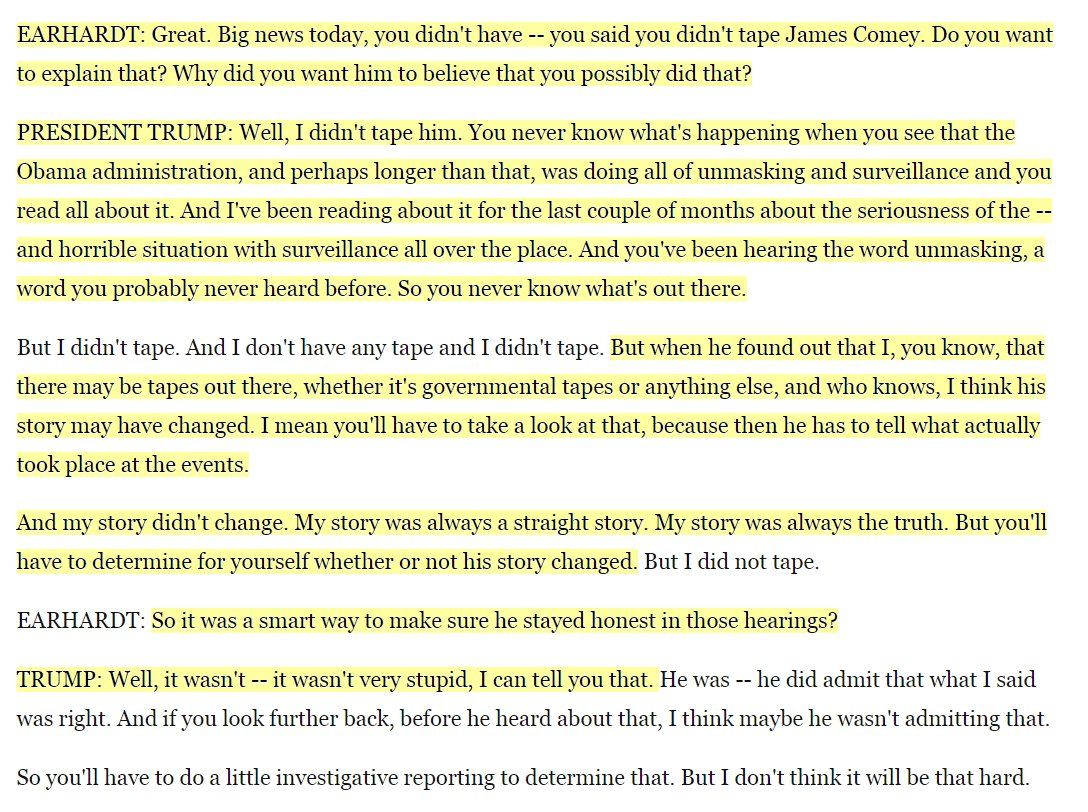 A reminder:  Comey testified under oath, took notes on Trump convos  Trump, who has a history of falsehoods, says he's always told the truth