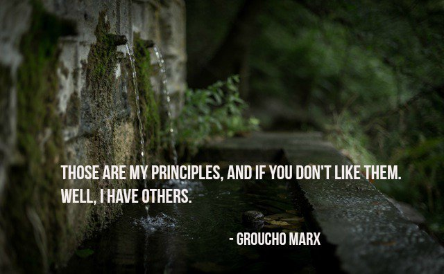 Those are my principles, and if you don&#39;t like them... well, I have others. - Groucho Marx #quote <br>http://pic.twitter.com/qlIjUld7TR