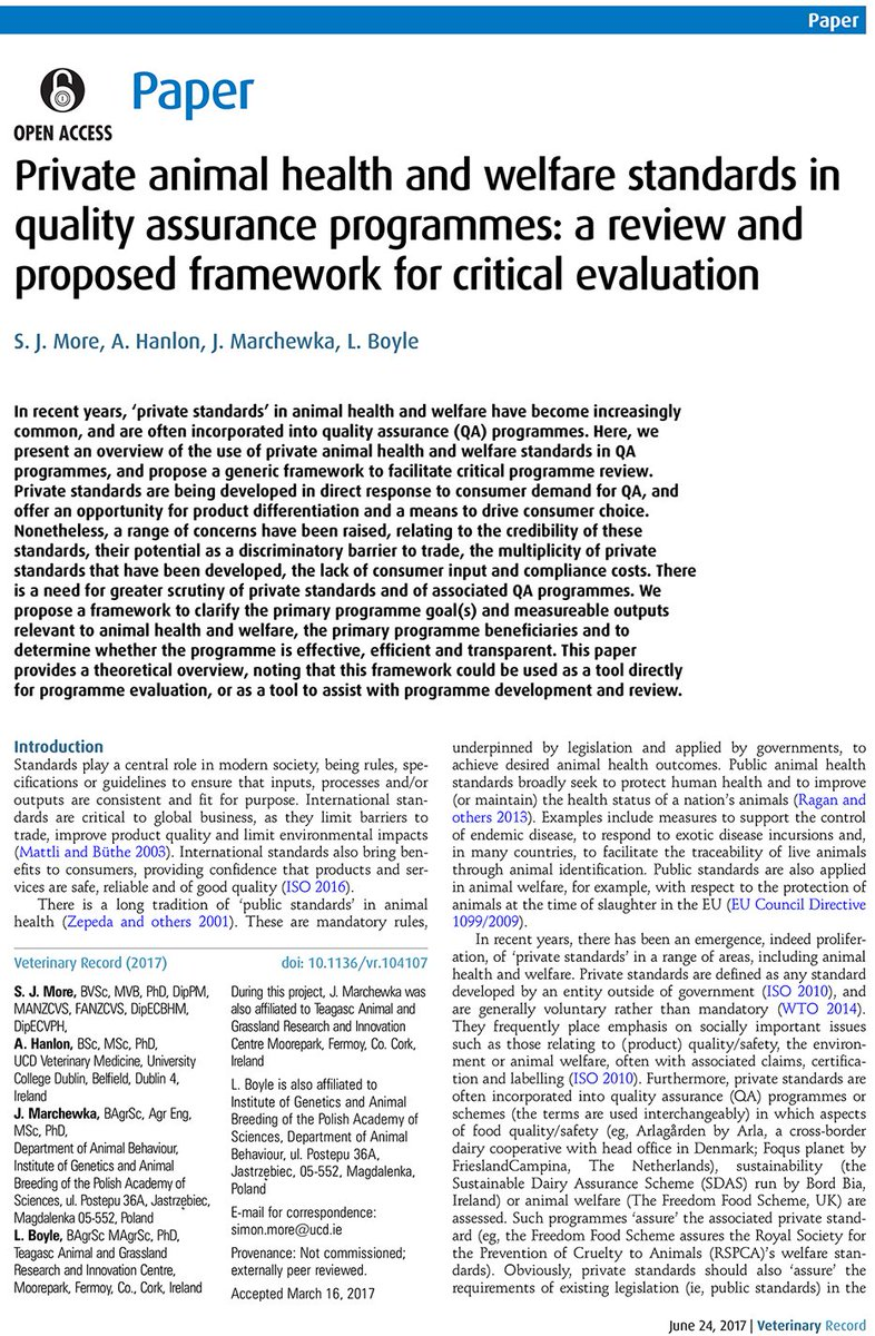 New OA research on animal health &amp; welfare standards in quality assurance programmes #LoveIrishResearch #OneWelfare  http:// dx.doi.org/10.1136/vr.104 107 &nbsp; … <br>http://pic.twitter.com/BdcOVPjhb2