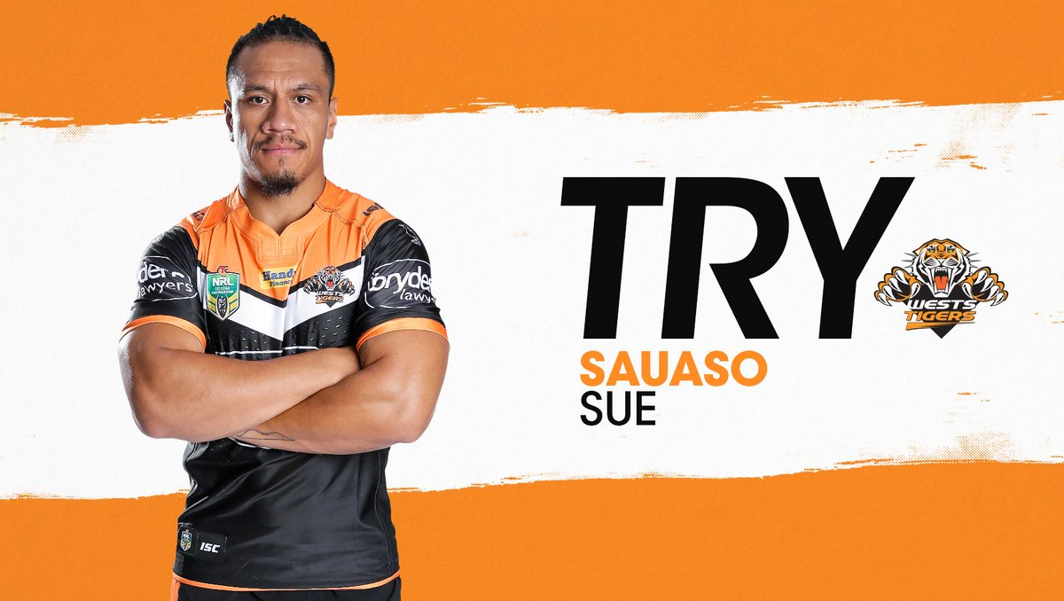 73'— SAUASO SUE GOES OVER!  Lolohea converts and it's 26-14.  #NRLTige...
