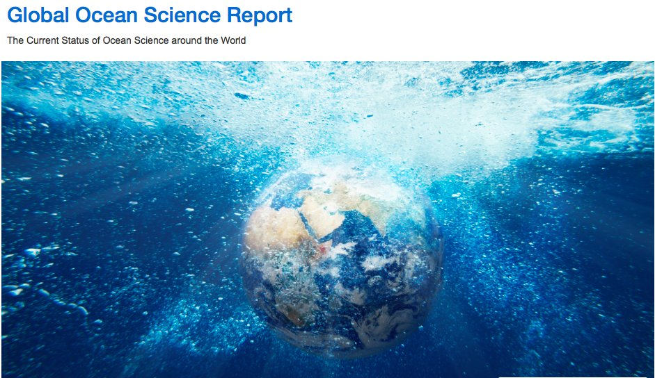 Global Ocean Science Report: The Current Status of #Oceans #Science  http:// en.unesco.org/gosr  &nbsp;    #IOC29 @WMO @IocUnesco #SDG14 HT @DrMikeSparrow<br>http://pic.twitter.com/EAPgr80IUO