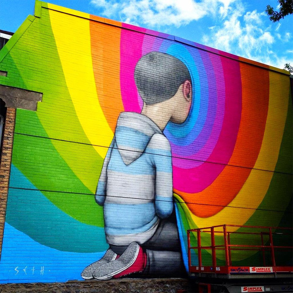 street art by Seth Globepainter  #art #paint #wall #boy #rainbow<br>http://pic.twitter.com/MMOrWXKIvC