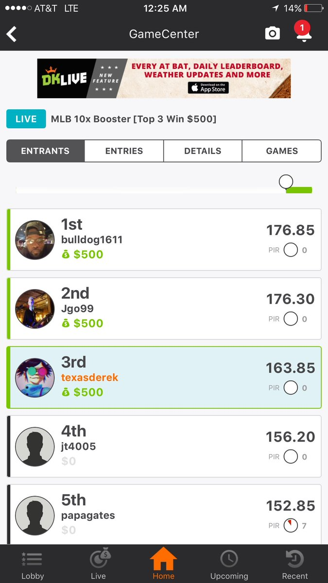 DFS Army Member TexasDerek killing it in DFS MLB as always. Another nice win.  http:// dfsarmy.com  &nbsp;   #dfs #mlb <br>http://pic.twitter.com/34LEt4TWXO