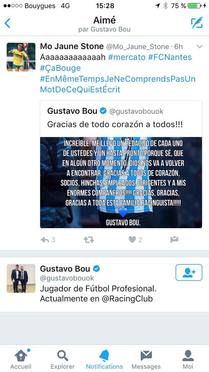 Euh... suis liké par Gustavo Bou !!! Ça veut dire qu'il vient au #FCNantes ça du coup ?!?!?! pic.twitter.com/xGhCAZ1YJL
