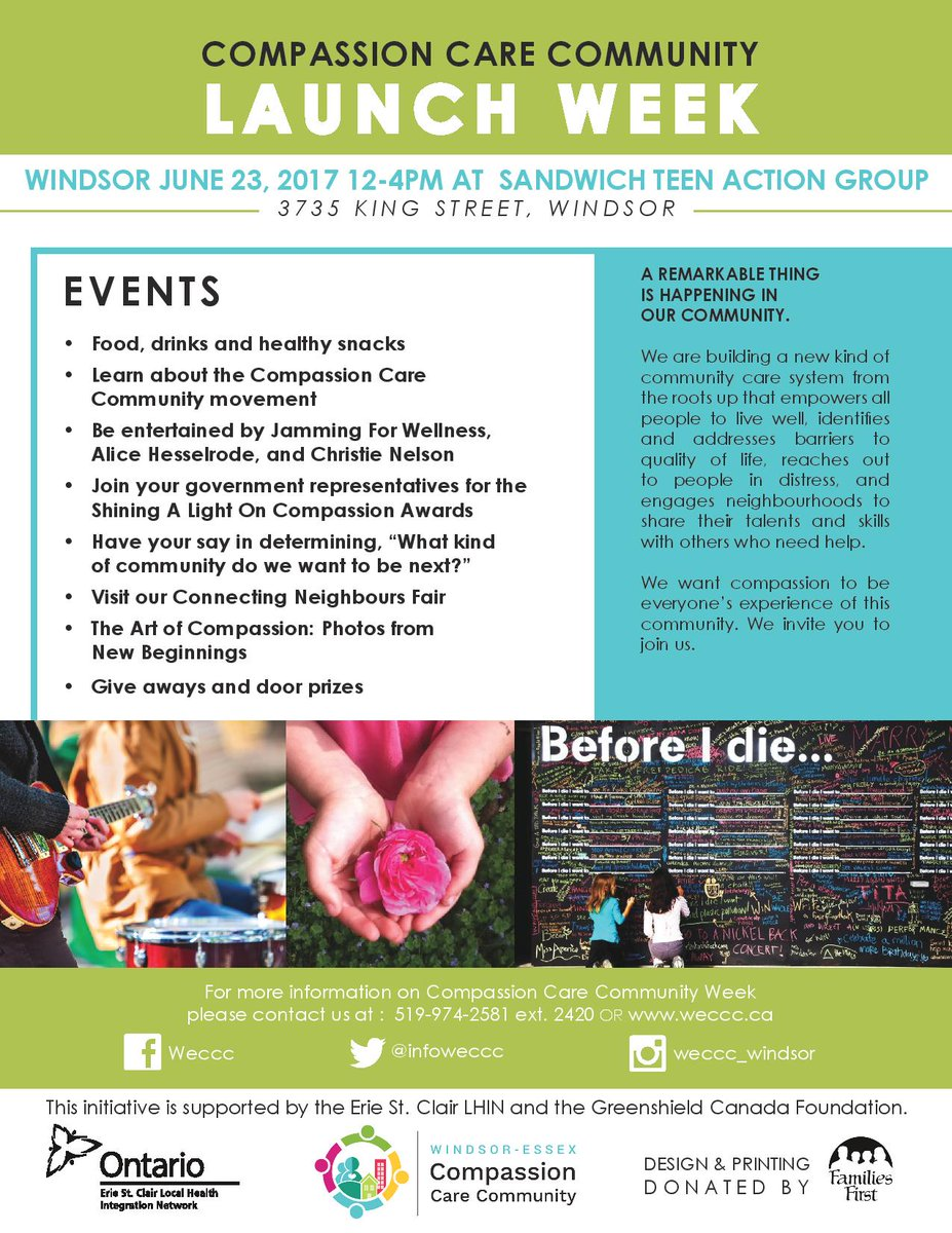 See you today @InfoWeccc Compassion Care Community Day #Windsor at the Sandwich Teen Action Group from 12-4! <br>http://pic.twitter.com/GVqoof04qP