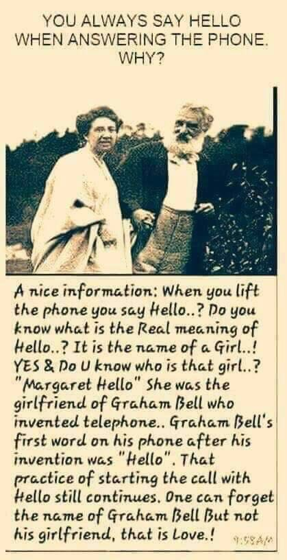 Why do we say &quot;hello&quot; when we answer the phone #call #phone #telephone #answer #hello #graham #graham_bell<br>http://pic.twitter.com/vWyQIkdYNm
