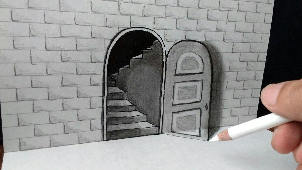 Trick art drawing - The door Illusion  my new 3D drawing Watch video on YouTube   https:// youtu.be/svxNEmjzS2M  &nbsp;   #art #artist #3D #illusion #video <br>http://pic.twitter.com/D6AadzHTNL