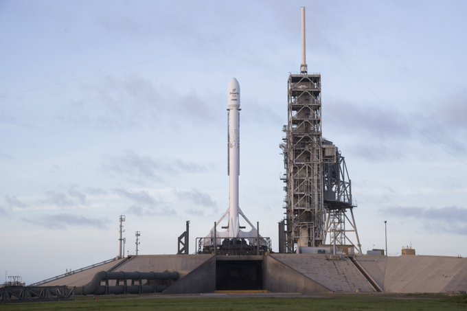 Falcon 9 and BulgariaSat-1 vertical on Pad 39A. Today's two-hour launch window opens at 2:10 p.m. EDT, 18:10 UTC.