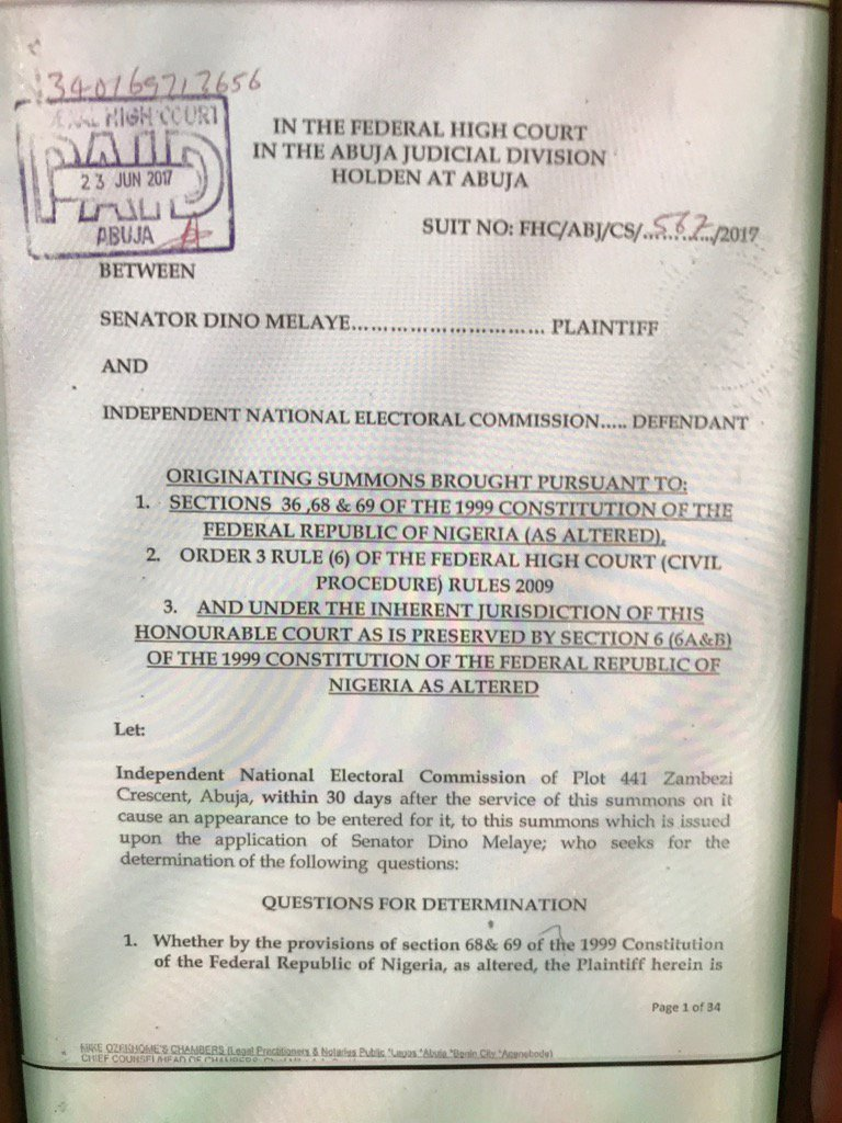 Senator Dino Melaye [Kogi West Senatorial District] has dragged the Independent National Electoral Commission [INEC] to Court over his planned recall by his constituents.