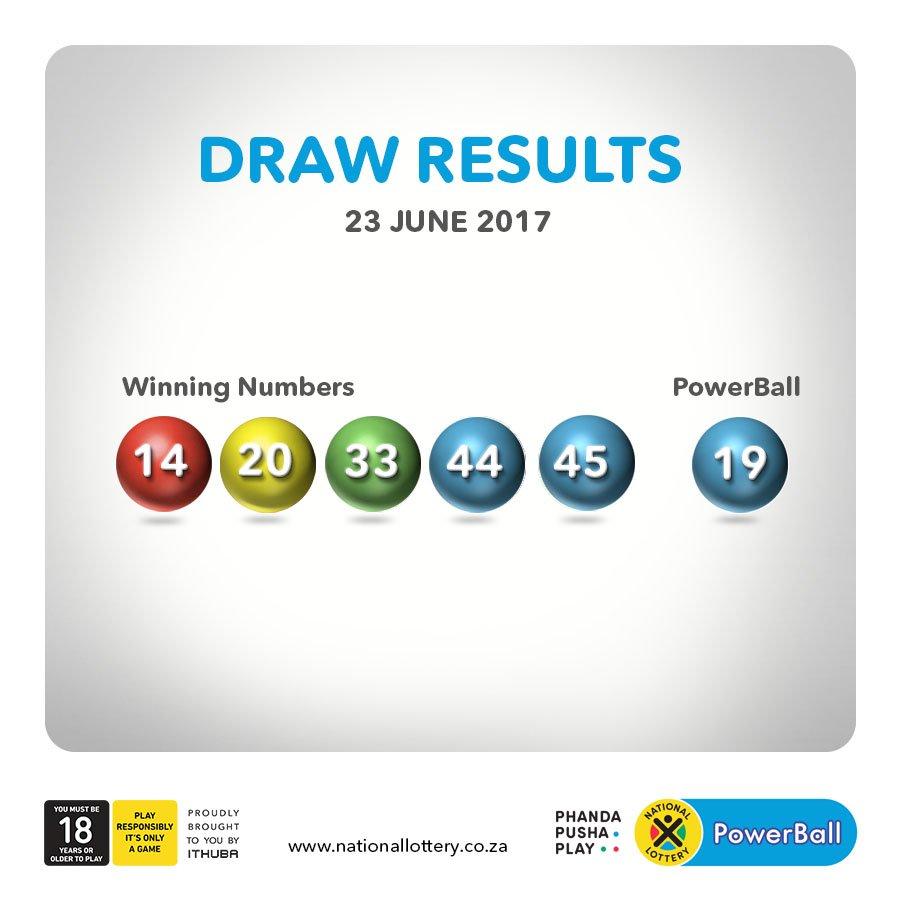 Powerball -  Drawresults For 23 06 17 Are Powerball 14 20 33 44 45 Powerball 19 Pic Twitter Com Idrrjunr5g