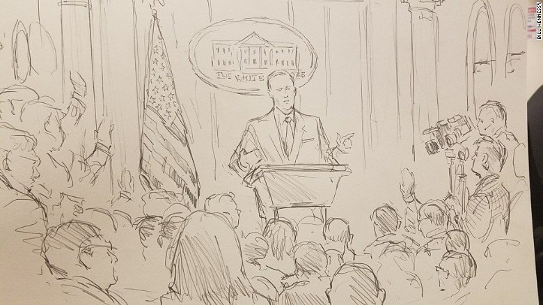 The White House has been prohibiting cameras at some press briefings, so we sent a sketch artist https://t.co/FuKv8RjYD2
