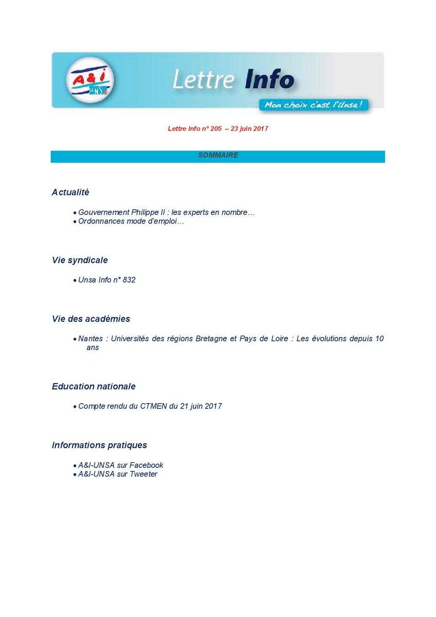 #lettre #infos #aeti #administration #intendance #UNSA #UnsaEduc n°205 du 23 juin 2017 @UNSA_Educationpic.twitter.com/aOOHyMi9Yp