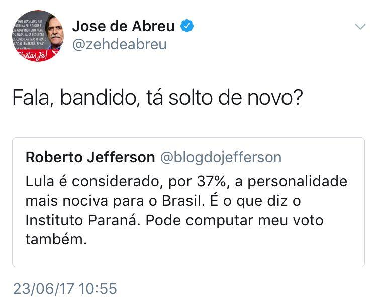 Zé de Abreu respondeu a tuíte em que ex-deputado cassado Roberto Jefferson aproveita para mais uma vez criticar Lula https://t.co/YWLwT699ao