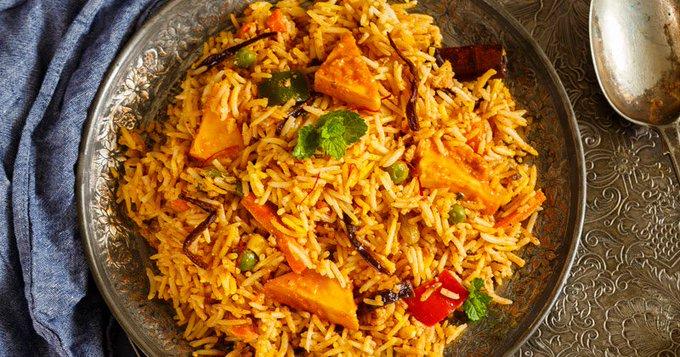 Paneer and Vegetable Makhni Dum Biryani