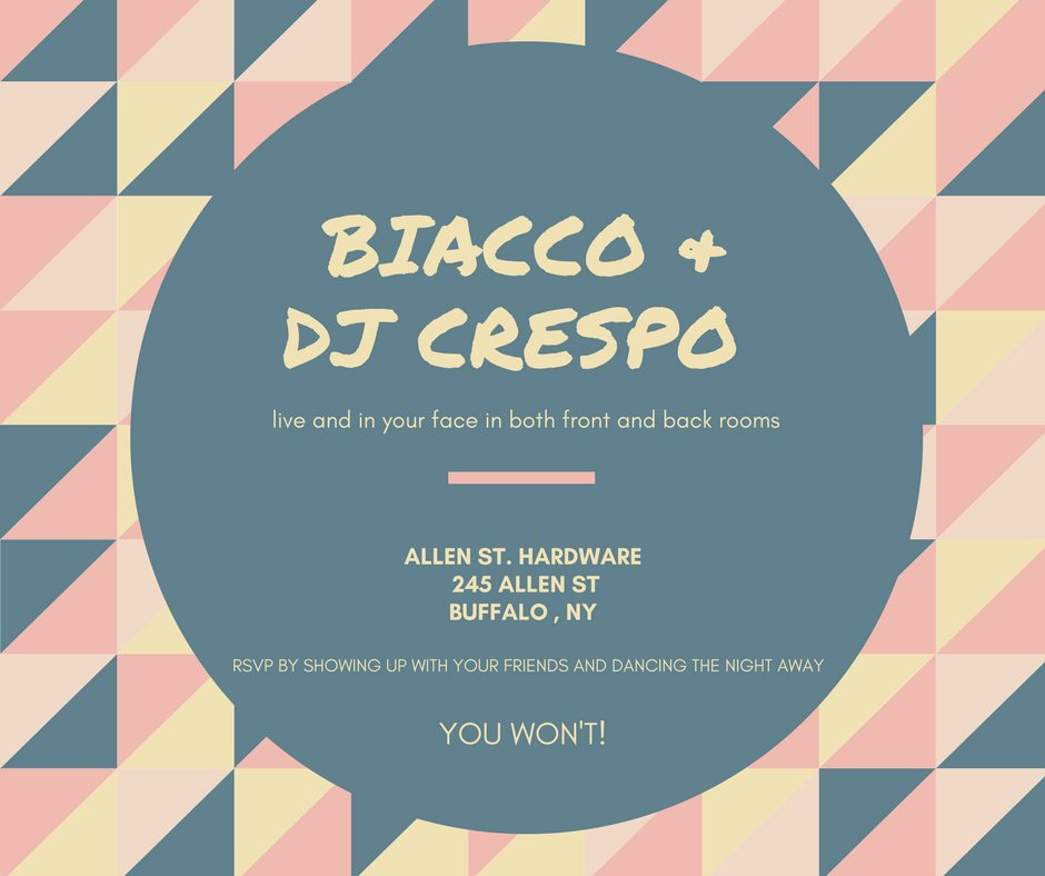 Tonight will not be one to miss! Crespo Beats in the front and Biacco in the back! 11 PM. #dance
