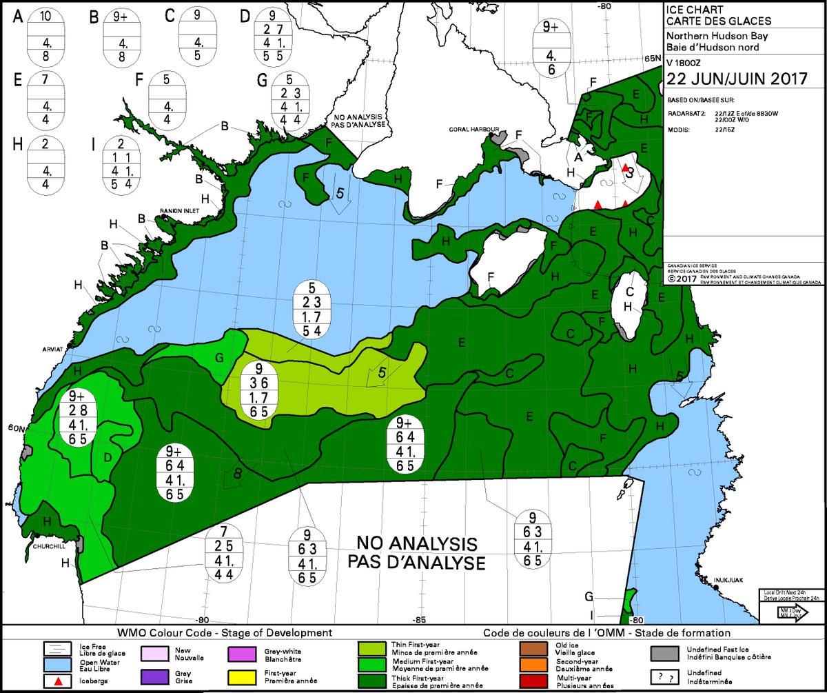 thick 1st yr #seaice (&gt;1.2m, dark green) #polarbear habitat showing off Churchill, WHB on CIS charts; bright green is 0.7-1.2m, slow breakup <br>http://pic.twitter.com/rGXZarJ6Tz