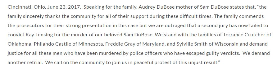 Samuel DuBose's family released a statement calling for a third trial in the case https://t.co/VR7iUl6cSD