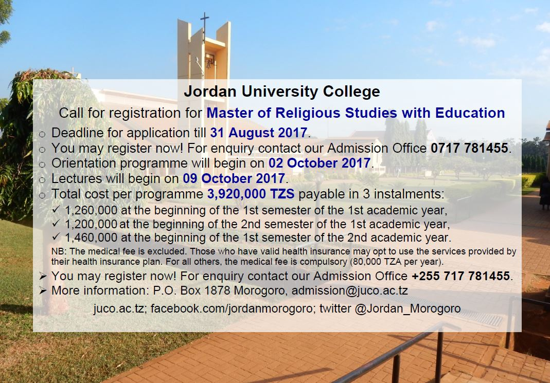 Master of Religious Studies with Education #JUCO #Morogoro #Tanzania #GainWithXtianDela #admission #education #master #MA #religiousstudies<br>http://pic.twitter.com/tb09m9Byeg