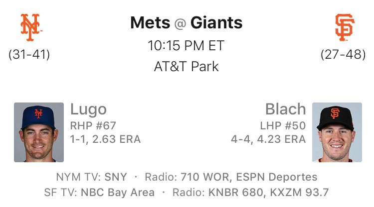 TONIGHT! Lugo, Bruce, and the #Mets take on Blach, Posey, and the #Giants at 10:15 PM in San Francisco! #LGM<br>http://pic.twitter.com/JhezlIIIPF
