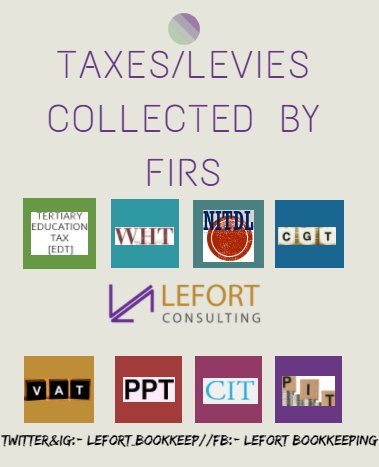 #FridayThoughts #InformationIsPower #Tax / #Levies collected by #FIRS #EDT #WHT #NITDL #CGT #VAT #PPT #CIT #PIT #SD #POL. #Smes #Techie #FCT<br>http://pic.twitter.com/PhtV5Y7Xhi