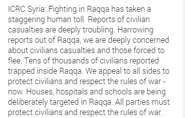 #Syria  @ICRC_sy: #USA destroy &quot;#deliberately&quot; hospitals&quot; in #Raqqa  -Western Govt&#39;s? #SILENCE -Remember insults vs #Russia due to #Aleppo?<br>http://pic.twitter.com/s7oMkZJc25