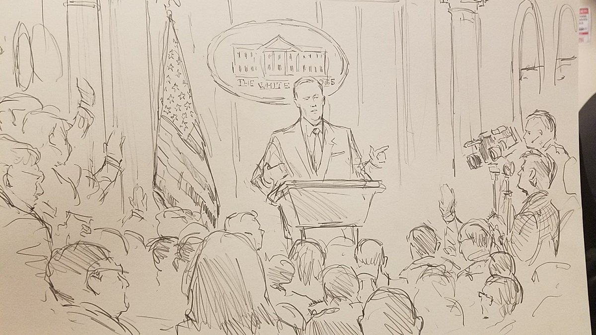 CNN sent Bill Hennessy, the network's regular Supreme Court sketch artist, to the White House briefing today. https://t.co/c0yvofNinq