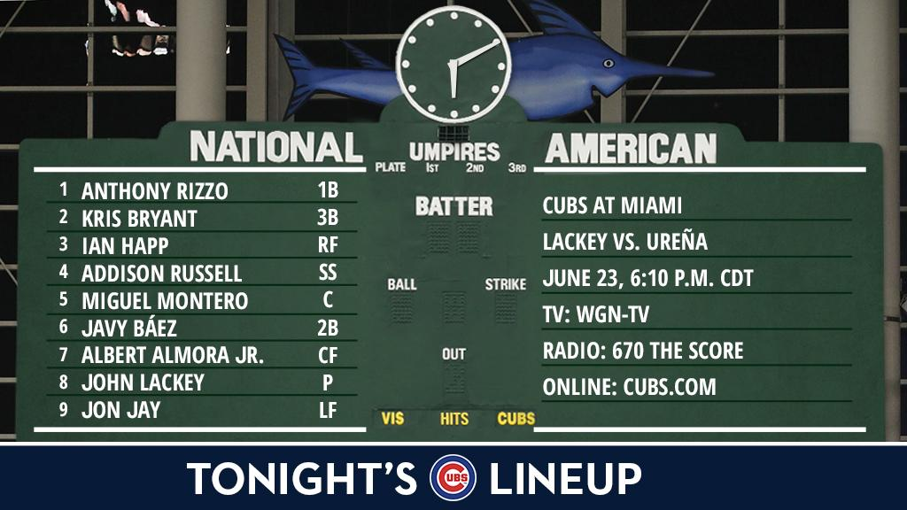 Here is tonight's #Cubs lineup in Miami.  Game preview: https://t.co/y...