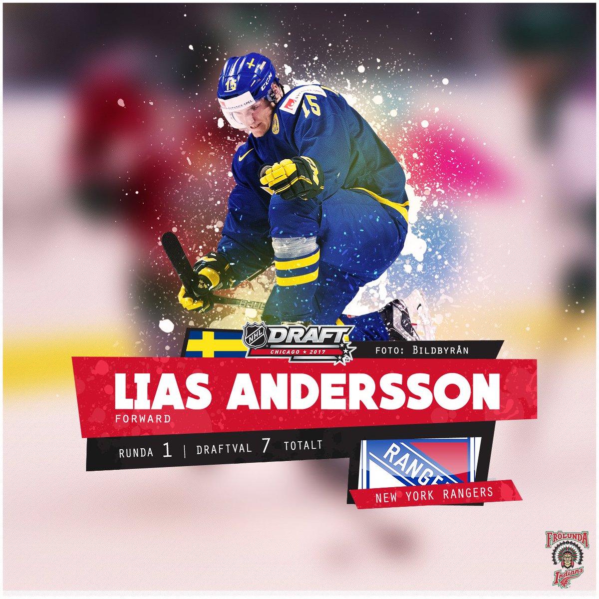 GRATTIS LIAS! Lias Andersson blir vald av New York Rangers i draftens...